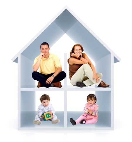 Family in a 3D home - isolated over a white background