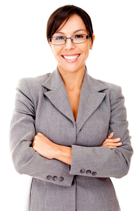 Business woman looking friendly and smiling - isolated over white