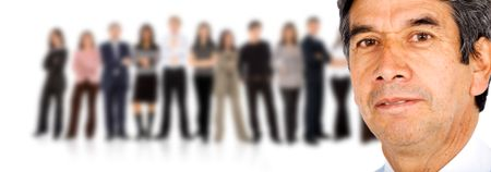 Business Team led by a senior businessman