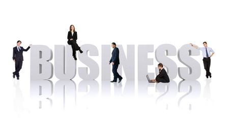 business team of people around the business word isolated over a white background