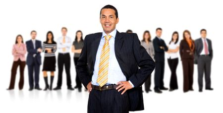 Business man leading a team isolated over a white background