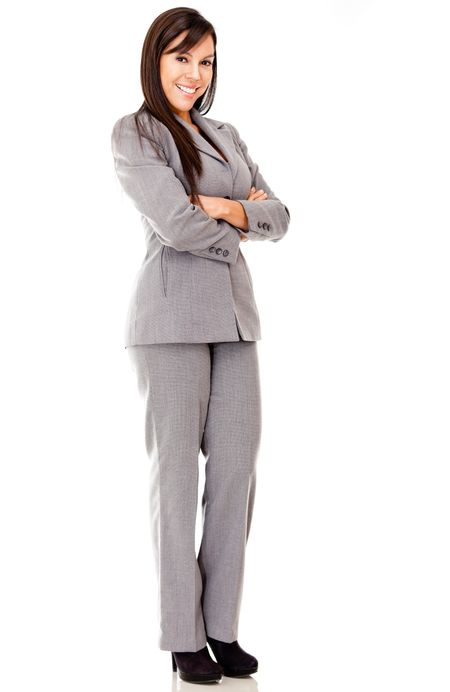 Business woman standing with arms crossed - isolated over white