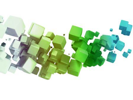 3D abstract cubes - isolated over a white background