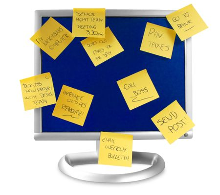 flatscreen monitor isolated with clipping path and some notes written on it