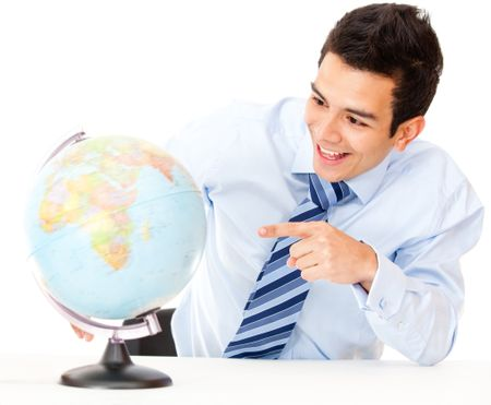 Man choosing his destination for the next business trip - isolated