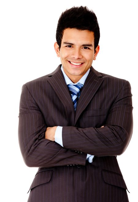 Business man with arms crossed and smiling - isolated over white