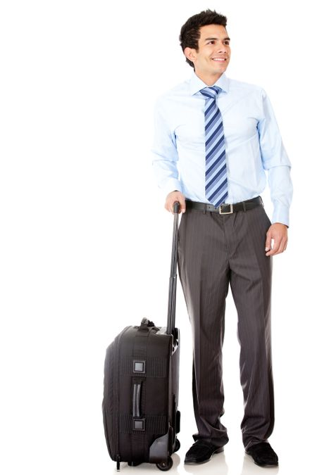 Man going on a business trip with a bag - isolated over white