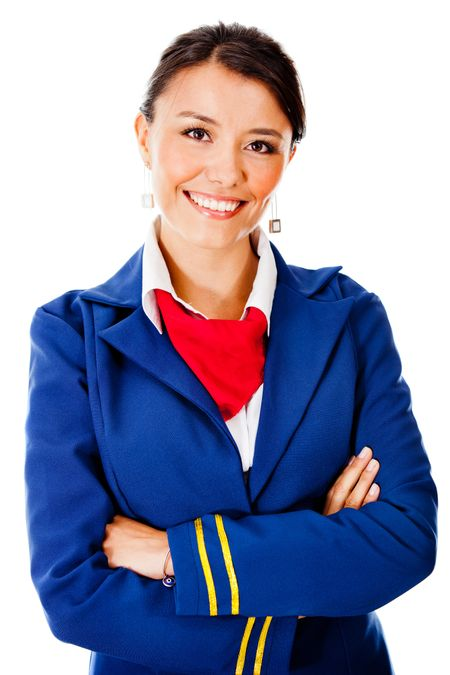 Flight attendant smiling - isolated over a white background