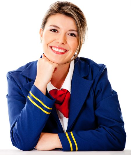 Air hostess smiling - isolated over a white background