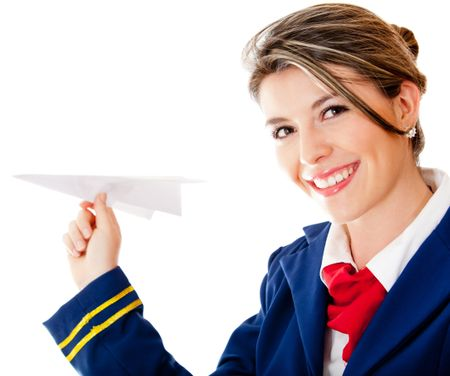 Flight attendant holding a paper airplane - isolated over a white background