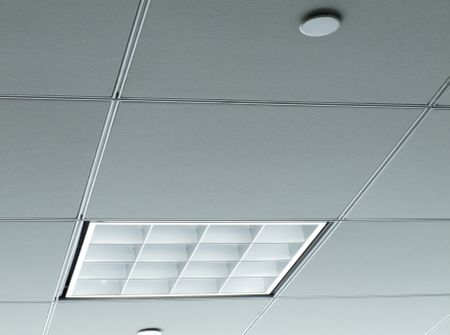 Office ceiling with white fluorescent fixture near window