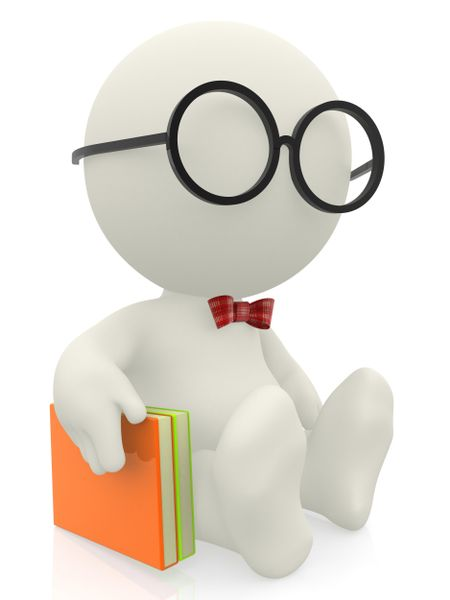 3D smart man or nerd with a book - isolated over a white background