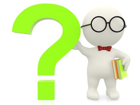 3D nerd with a question mark - isolated over a white background