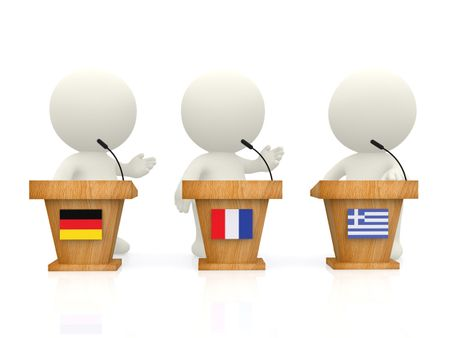 3D International forum with people from Greece, Germany and France - isolated over white