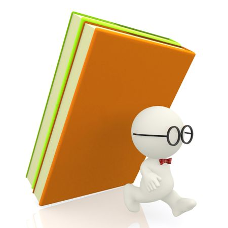 3D nerd being attacked by books - isolated over a white background