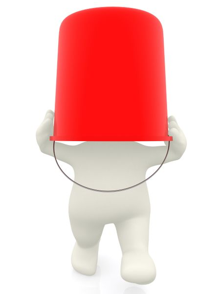 3D man with a bucket on his head - isolated over white background