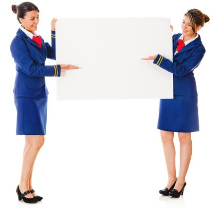 Flight attendants holding a banner ad �¢?? isolated over a white background