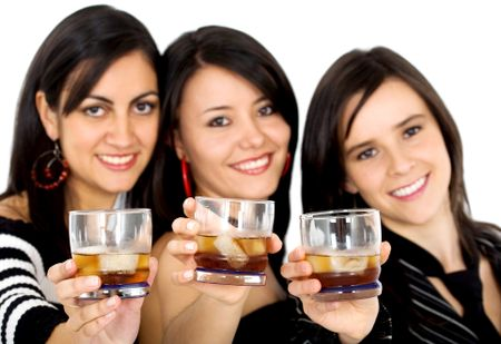 friends at a party drinking whiskey - isolated over a white background
