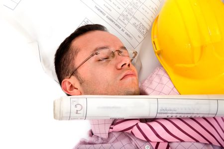 architect stressed on the floor isolated over a white background