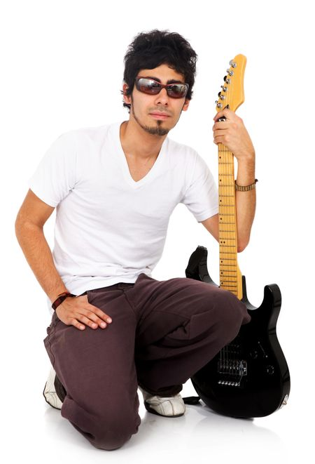 male guitarist isolated over a white background