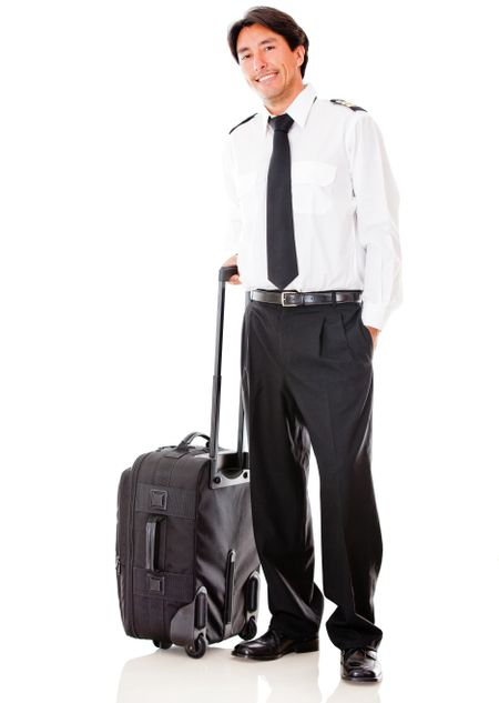 Handsome male pilot with a bag - isolated over a white background