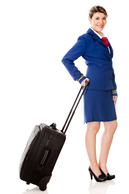 Air hostess with a bag - isolated over a white background