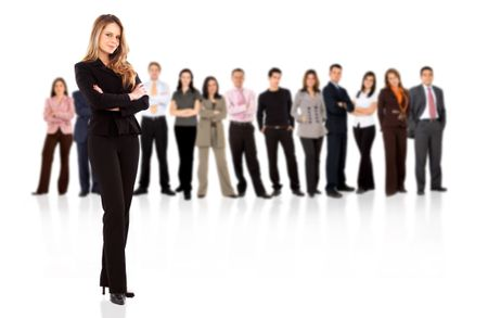 business people with a businesswoman standing in front of the group isolated over a white background