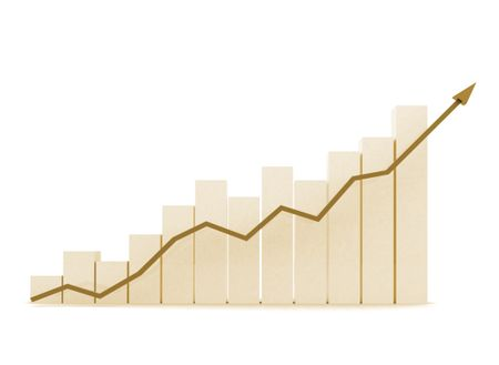 business chart of growth and success in brown colours - isolated over a white background