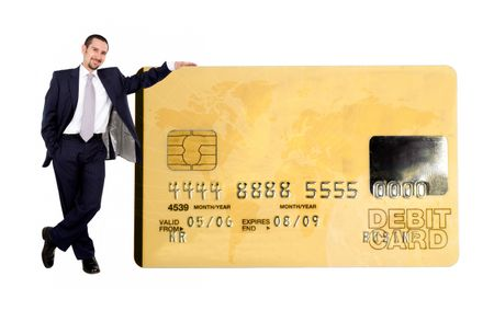 business man holding a credit card over a white background - note the design of the card is my own and the numbers on the card are made up