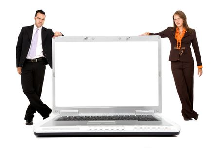 business people with a laptop computer isolated over a white background