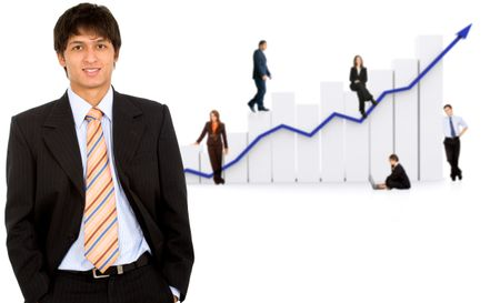 business man in front of a group of business people with a chart representing growth and success - isolated over a white background