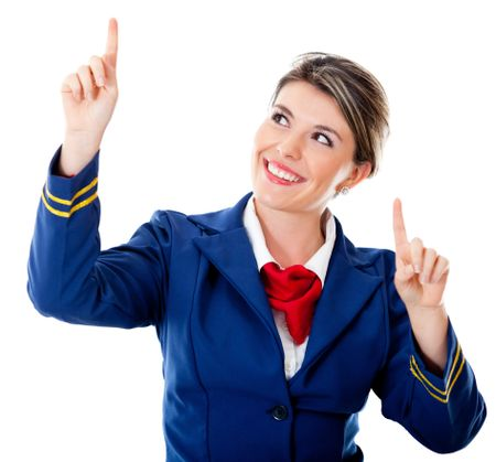 Air hostess pointing two different destinations - isolated over a white background