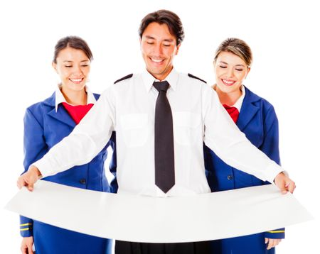 Air crew holding a model - isolated over a white background