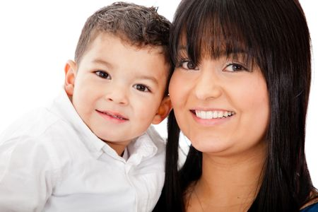 Happy portrait of a mother and her son - isolated over a white background