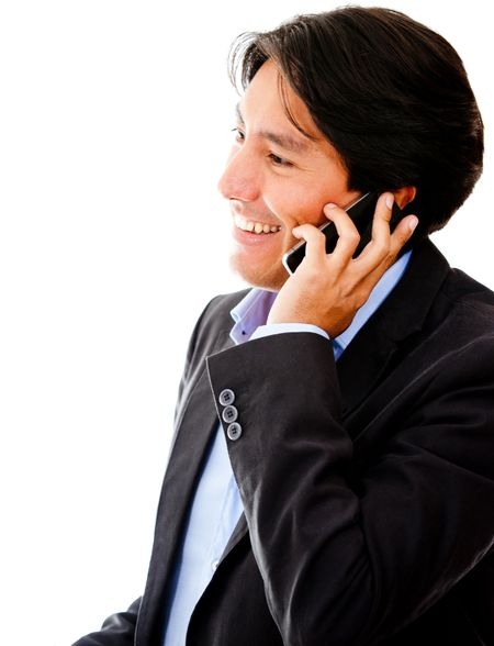 Businessman talking on the phone - isolated over a white background