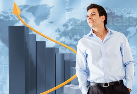 Successful businessman with a bar graph showing growth