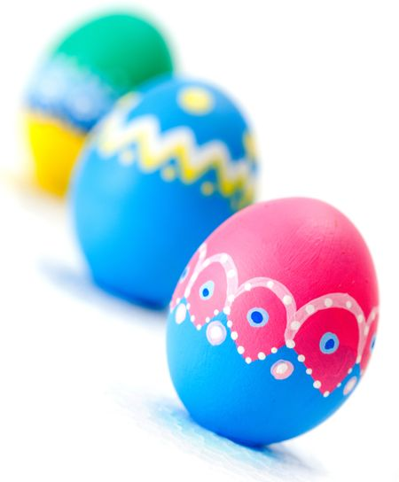 Hand painted Easter eggs - isolated over a white background