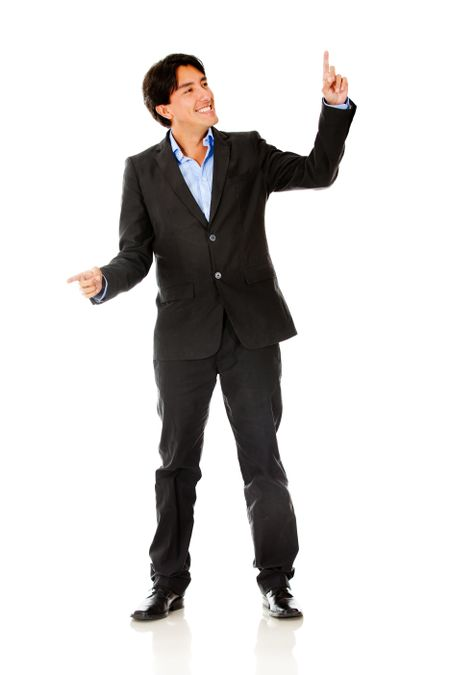 Businessman pointing with two hands - isolated over a white background