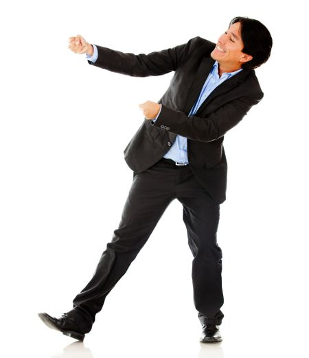 Businessman pulling an imaginary rope - isolated over a white background
