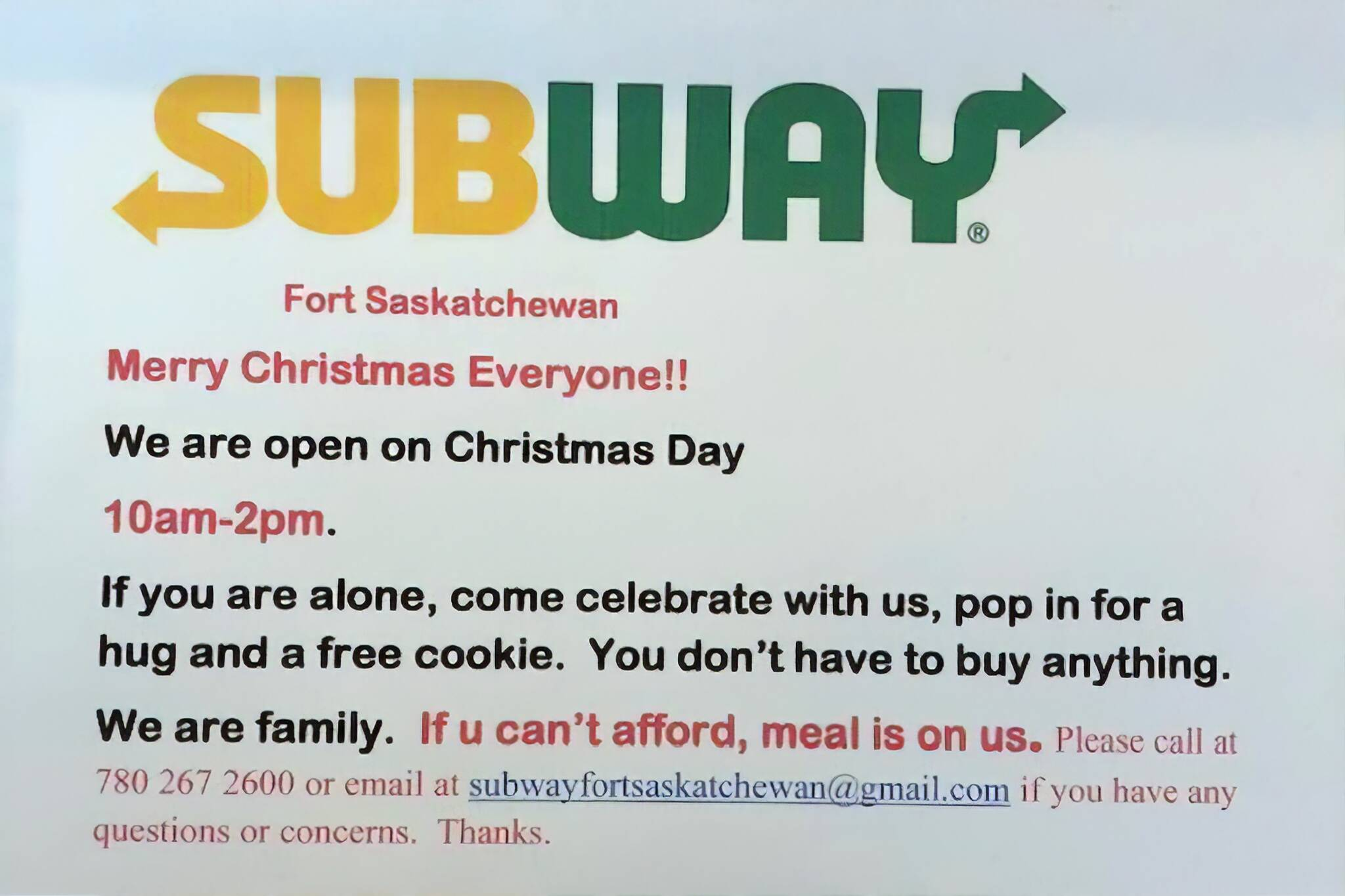 subway free christmas
