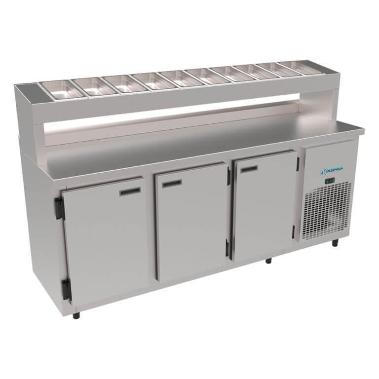 Balcão Condimentadora Refrigerado 1,85 mts 3 Portas sem Cubas Kofisa