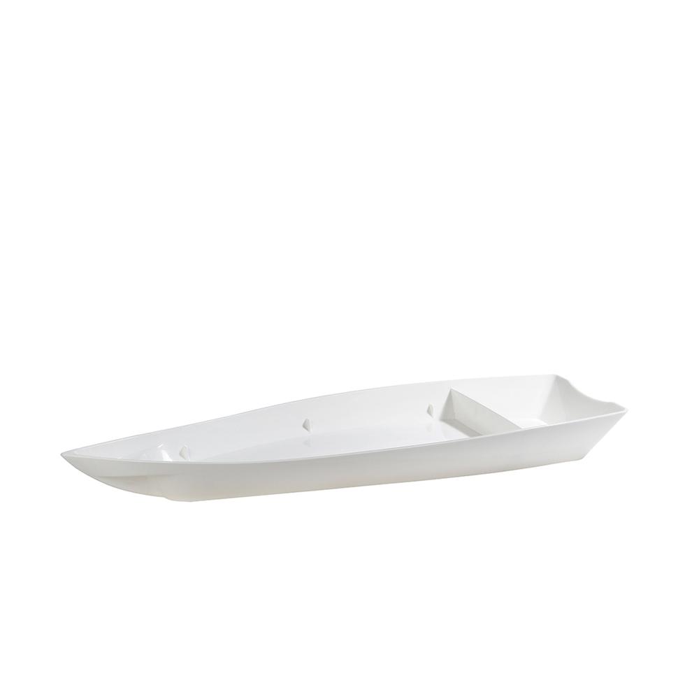 Barco para Sushi Grande de Policarbonato Branco Vemplast
