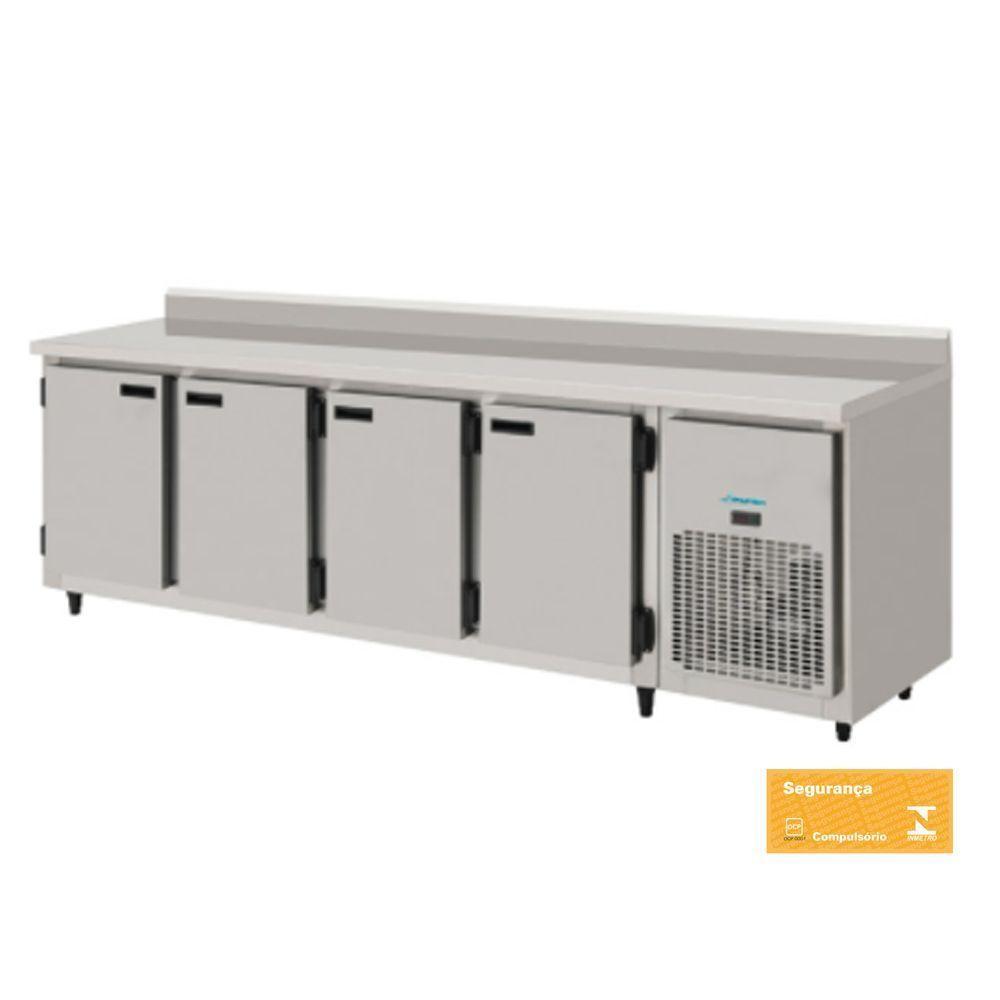 Balcão Refrigerado Encosto de Inox 4 Portas 2,5 mts com Interior Galvanizado Kofisa
