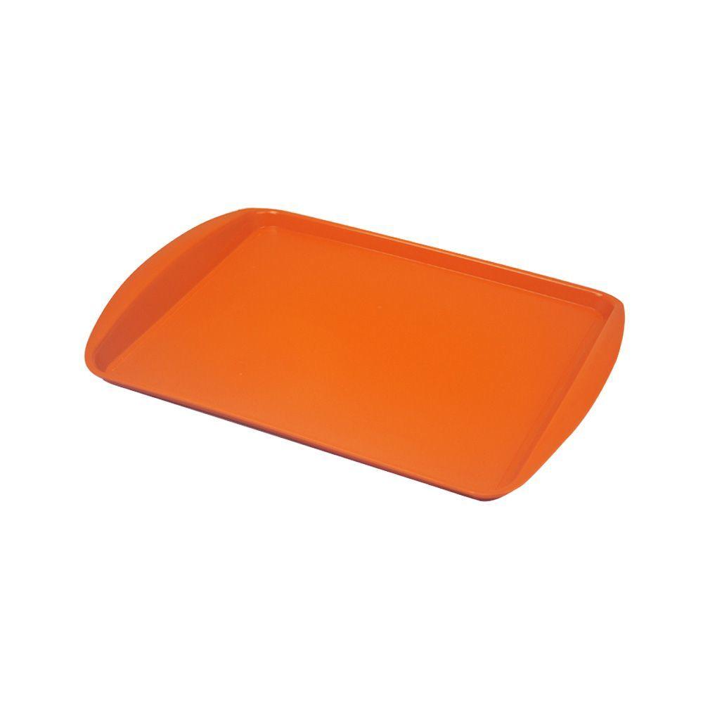 Bandeja Plástica Laranja para Fast Food 43x30 cm S300 Kit 10 pçs  Supercron