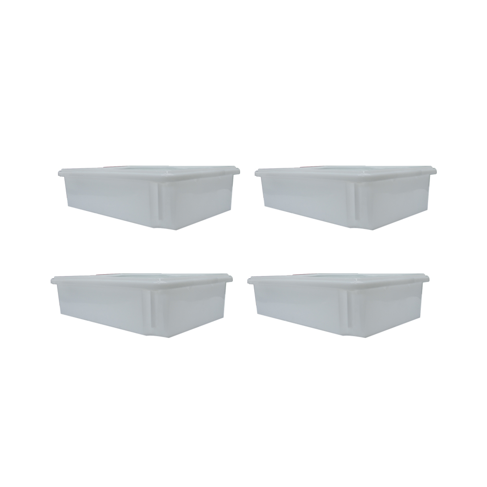 Caixa Plástica Branca Empilhável com Tampa 33X53X12 cm de 15 Litros S750  Kit 4 pçs  Supercron