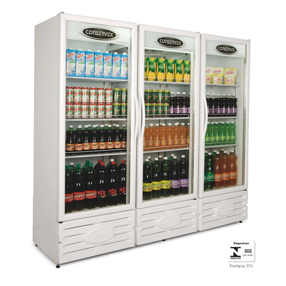 Expositor Refrigerado Vertical 3 Portas 1300 Litros Branco ERV1300BR - Conservex