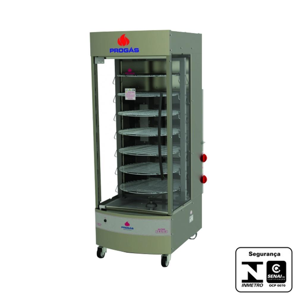 Máquina de assar frango Multiuso Giratória 7 Grelhas 70 Kg Progás