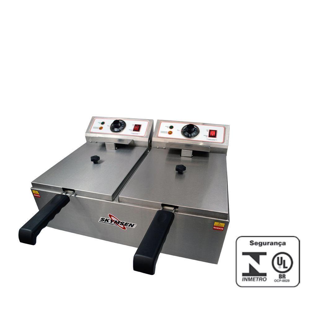 Fritadeira Eletrica Industrial 2 Cubas de Inox Skymsen 220v