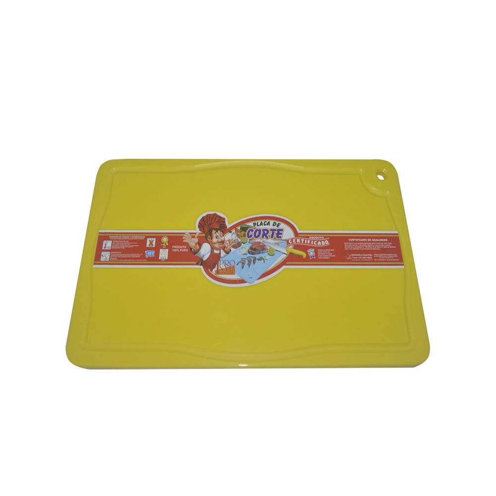 Placa de Corte Amarela com Canaleta em Polietileno 1,5X30X50 cm Pronyl 124