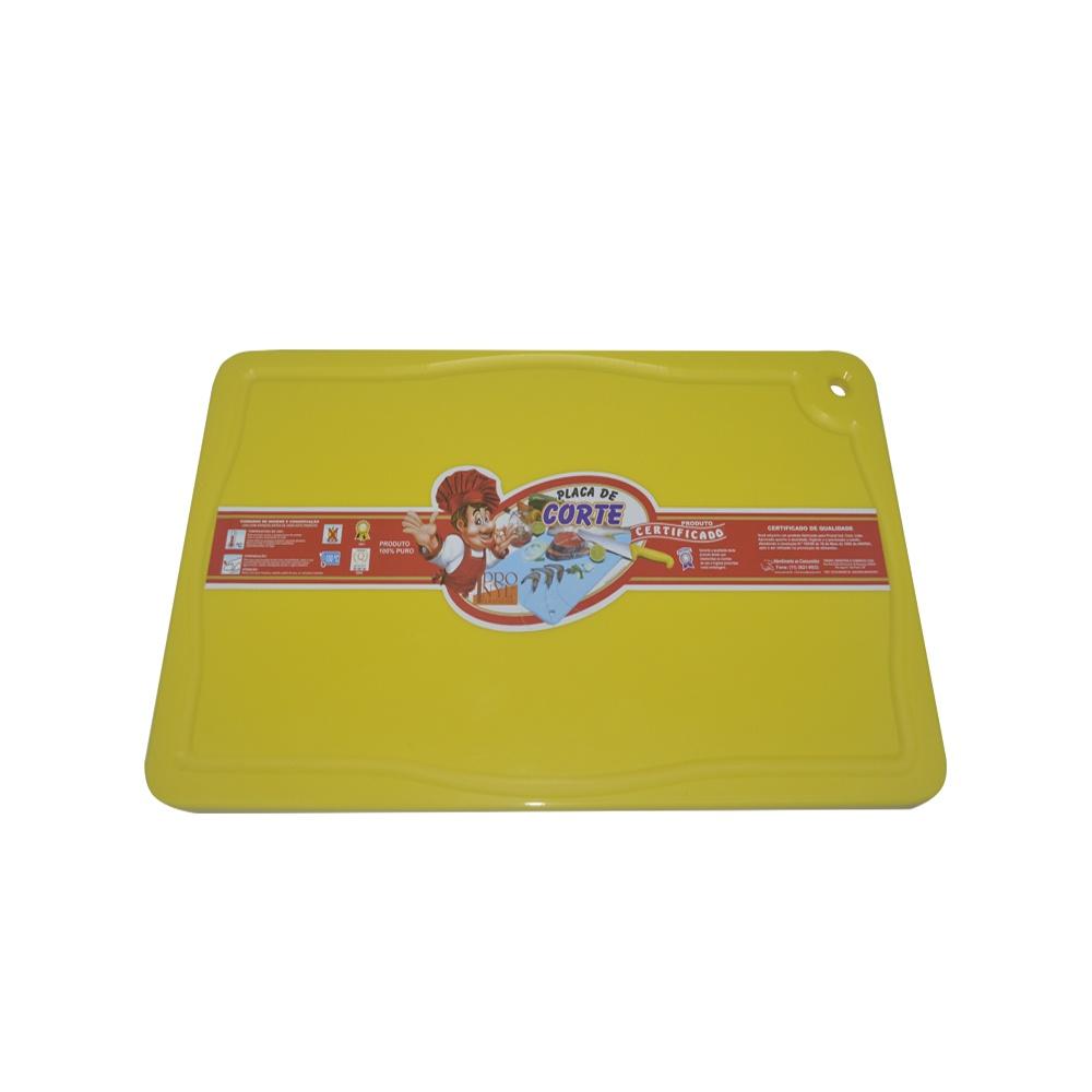 Placa de Corte Amarela com Canaleta em Polietileno 1X30X50 cm Pronyl 159